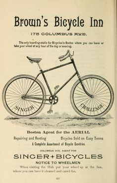 """~ Road Book of Boston and Vicinity for Bicyclers, Riders and Drivers, Charles A. Underwood, Ed., 1893 """"The only boarding stable for Bicycles in Boston"""" Note: I love the way it takes human ideas and language a while to catch up to new technology. Vintage Advertisements, Vintage Ads, Vintage Posters, Vintage Images, Old Bicycle, Bicycle Art, Vintage Cycles, Vintage Bikes, Tricycle"""