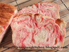 Vivian Pang Kitchen: Strawberry Marble Loaf Bread/ Straight Dough Method