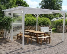 The pergola kits are the easiest and quickest way to build a garden pergola. There are lots of do it yourself pergola kits available to you so that anyone could easily put them together to construct a new structure at their backyard. Garden Design, Deck With Pergola, Outdoor Living, Pergola Plans, Scandinavian Garden