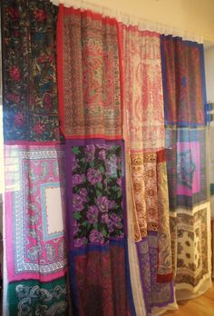 Gypsy style curtains from bandanas! Scarf Curtains, Gypsy Curtains, Cool Curtains, Gypsy Style, Bohemian Style, Bohemian Gypsy, Gypsy Decor, Bohemian Decor, Patchwork Curtains