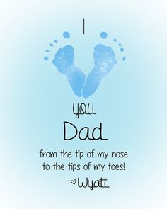 Personalized Baby Footprint Art Print - I love you Daddy - Great gift for Father's Day for Father, Dad, Daddy, Grandpa, Papa, Pops