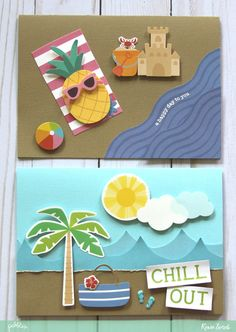 Send happy mail this summer with Beach Day cards by @reneezwirek using the #sunshinydays collection by @pebblesinc #sponsored