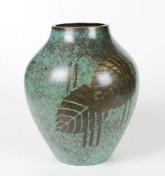 WMF Ikora Bauhaus Vase Art Deco Metall Grün Feuerpatiniert alte Turmmarke