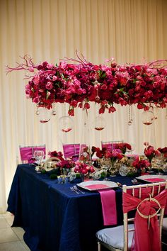 This suspended hanging centerpiece is magnificent Fuschia Wedding, Hot Pink Weddings, Wedding Colors, Hanging Centerpiece, Rose Centerpieces, Wedding Events, Our Wedding, Dream Wedding, Wedding Stuff