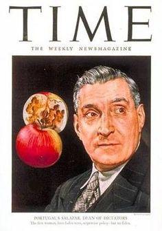 """A 22 de Julho de 1946, a revista americana """"Time"""" publica uma reportagem sobre Salazar e a ditadura do Estado Novo com o título """"Até que ponto o melhor de Portugal é mau"""". A revista TIME, que foi proibida em Portugal, comparava o país a uma maçã podre, aparentemente perfeita exteriormente, mas, no seu interior, doente"""