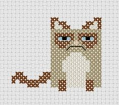 Grumpy Cat Cross Stitch Pattern - Kawaii Version