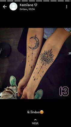 Tatuagem sol e lua Body Mods, Henna, Body Art, Piercings, Ink, Album, Style, Sun Tattoos, Tatto Designs