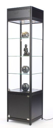 72 Tall Glass Display Cabinet with 3 Adjustable Tempered Glass Shelves and 3 Halogen Top Lights