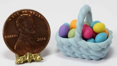 Blue Porcelain Basket with Colorful Eggs - Dollhouses and More