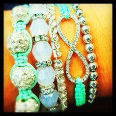 Teal stacked bracelets