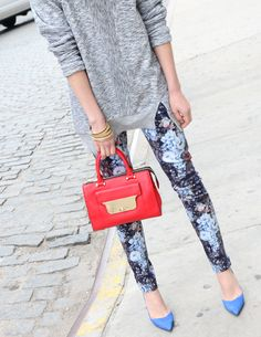 Sweater and floral trousers