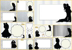 Wedding Couple Silhouette in Silver: Free Printable Invitations.