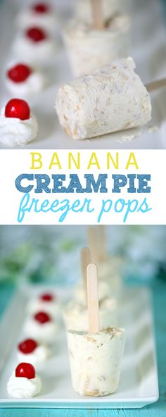 Tasty and Simple Banana Cream Pie Freezer Pops - Homemaking Hacks Mini Desserts, Frozen Desserts, Summer Desserts, Frozen Treats, Easy Desserts, Delicious Desserts, Summer Recipes, Oreo Dessert, Best Dessert Recipes