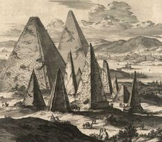 Illustration of pyramids and obelisks by Athanasius Kircher (1601/02–80)