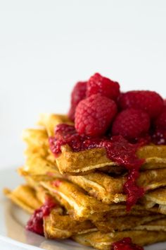 Hazelnut Waffles with Raspberry Syrup via Sift & Whisk