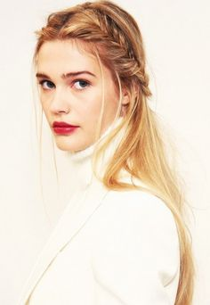 Stunning half up, half down with a braid and red lip