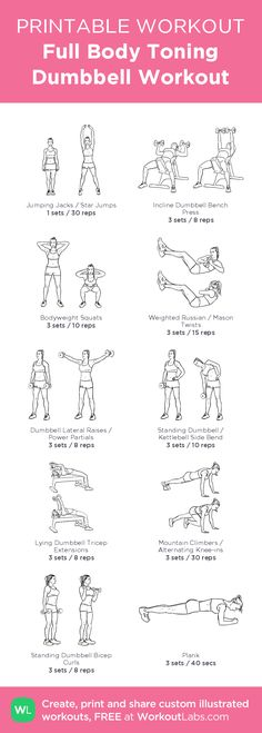 Full Body Toning Dumbbell Workout– my custom exercise plan created at WorkoutLabs.com • Click through to download as a printable workout PDF #customworkout