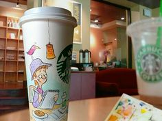 Stacy Curtis: Drawing on a Starbucks cup