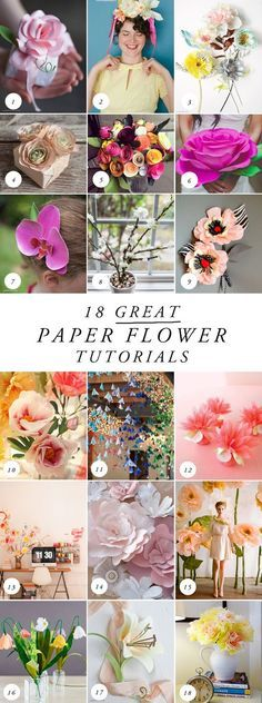 6,15,16 1 Paper rose by Lia Griffith 2 Floral headband 3 Thuss + Farrell 4 Anemone 5 Bouquet 6 Oversized paper rose 7 Orchid 8 Branch of flowers 9 Tiger striped corsage 10 Peony 11 Hanging flowers 12 Dahlias 13 Flower tree 14 Pink flowers 15 Oversized standing flowers 16 Lily of the valley 17 Lily 18 Tissue paper flowers