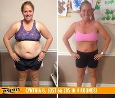 "Cynthia G. lost 66 lbs in 4 rounds of Insanity! Congrats Cynthia! Way to keep at it and #DIGDEEP!!    ""I feel so much better mentally and physically. I have so much positivity and energy during the day. Shaun T is seriously my soul mate trainer. He inspires me every day!"""