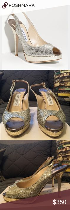 """Jimmy Choo Nova Glitter Slingback Pumps Champagne These gorgeous Jimmy Choo shoes were worn by my mom precisely one time. To my wedding :) They are in excellent condition and come with the box and all original packaging. Size 5. Champagne color is a silvery-gold sparkly mix. Originally retailed for $695.  Flirty peep toe and narrow slingback strap. Two-tone glitter fabric and crackled leather sandal. 4 1/4"""" heel; 3/4"""" platform; 115mm pitch. Adjustable strap with buckle closure. Fabric…"""
