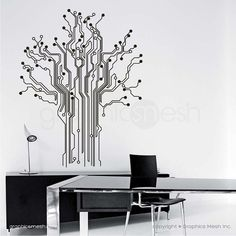 Give the gift of geekery. Tech shapes of circuit board forming a tree. Cool and modern wall decal installation for any home or office. Made out of high quality removable vinyl that is easy to install and looks as if its painted on. Mix and match different sets to get more sizes.  Decorating made easy by adding wall decals or murals to walls, ceilings, furniture, windows, doors, etc., you instantly create an intriguing and unique look in your home or office. Made out of high quality vinyl…