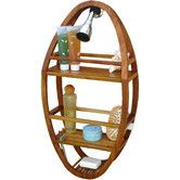 Found it at Wayfair - Spa Teak Oval Shower Organizer. I love the look of this. Excellent reviews. Certainly a big improvement on metal shower organizers.