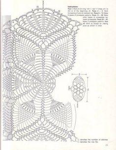"ru / Alleta - Album ""Napkins and oval track"" Crochet Doily Diagram, Crochet Doily Patterns, Crochet Chart, Thread Crochet, Filet Crochet, Crochet Designs, Knit Crochet, Pineapple Crochet, Pineapple Pattern"