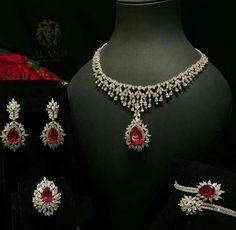 Aland Jewelers Ruby and Diamond Parure Yellow Jewelry, Gold Jewelry Simple, Ruby Jewelry, Chanel Jewelry, Fashion Jewelry, Simple Necklace, Diamond Jewelry, Indian Jewelry Sets, Bridal Jewelry Sets