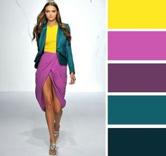 Vibrant mustard yellow, purple orchid and deep teal. I need to try this combo. Make the shoes camel or gold.