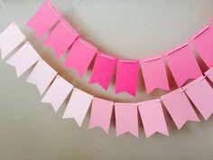 Ombré Pink Banner, pendant banner, bunting, baby shower banner, bridal party decor