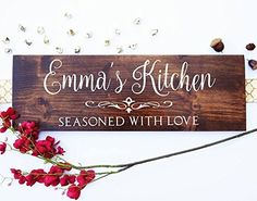 Custom your Gift Kitchen Wall Decal - This kitchen is seasoned with love. Thank you for checking out our beautiful handmade Home Decor! We sell handmade, high quality, and wonderful custom carved or painted designs-family name signs,Established signs, Last Name signs, Established plaque carved signs, Wedding Gifts, Wedding Accessory, Wedding Welcome signs ... Pretty much everything, you can contact us for your own custom design for any purposes !! The measure of this item: 8 x 24 Every…