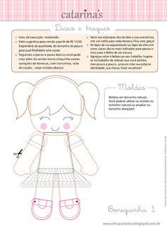 Amigas do Feltro! : O passo-a-passo e os moldes das bonequinhas Erica Catrarina