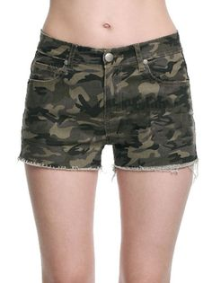 Mid Waist Pockets Rough Fringe Women's Hot Bottoms Camo Shorts on buytrends.com