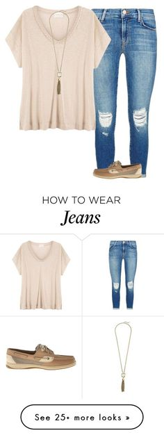 """Simple"" by anappleadaykeepsfashionuptodate on Polyvore featuring J Brand, EAST, Sperry and Cole Haan"