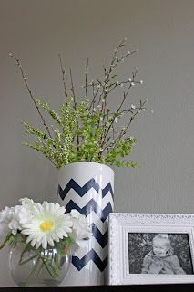 Huckleberry Love: Friday Features - DIY Chevron Vase via A Little of This, A Little of That