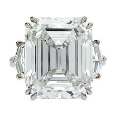 Rare Emerald Cut Diamond Ring GIA H Internally Flawless | From a unique collection of vintage engagement rings at http://www.1stdibs.com/jewelry/rings/engagement-rings/