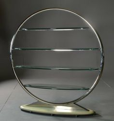 A Contemporary Glass & Chromed Metal Etagere : Lot 8