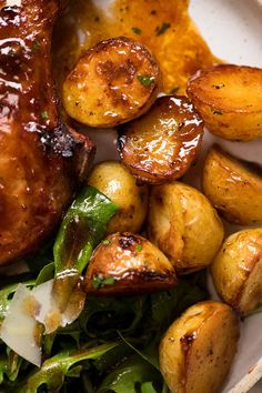 Close up of Oven Roasted potatoes with pork chops