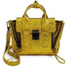 3.1 Phillip Lim Pashli Mini ($650) ❤ liked on Polyvore featuring bags, handbags, purses, yellow, yellow handbags, top handle satchel handbags, mini purse, satchel purses and yellow purses