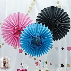 Hanging Wall Fan Paper Decorations x 3 - Pink / Black & Blue - Wedding / Party Gold Party Decorations, Birthday Party Decorations, Birthday Parties, Hanging Decorations, 50th Birthday, Fan Decoration, Paper Fans, Confetti Balloons, Confetti Wall