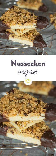 Schlemmen mit gutem Gewissen: Nussecken lassen sich natürlich auch ohne tierische Produkte backen. 100% vegan - 200% lecker!