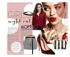"""""""I Feel Like A Woman"""" by blagunash ❤ liked on Polyvore featuring KAROLINA, Gianvito Rossi, Ann Demeulemeester, Betsey Johnson, outfit, romwe, Elegant, shirt and burgundy"""