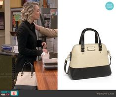 Penny's two-toned bag on The Big Bang Theory.  Outfit Details: https://wornontv.net/55312/ #TheBigBangTheory