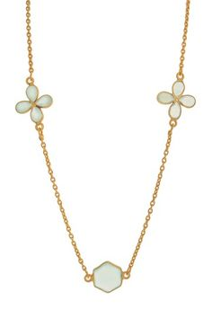 14K Vermeil Chalcedony Flower Station Necklace by Silver International on @HauteLook