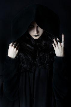 Black gothic costume.