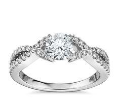 Fishtail Infinity Twist Diamond Engagement Ring 14k White Gold .70 - .80 ct., White Gold Diamond, size 4.5 - 8.5