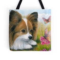 Tote Bag Dog 123 Papillon Butterfly from art by artbyLucie on Etsy