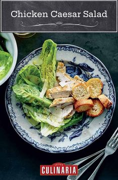 This chicken Caesar salad skips the raw egg and uses plenty of Parmesan to create a smooth, creamy dressing, perfect for drizzling atop romaine, seared chicken, and Parmesan toasts. #chickenrecipes #chicken #caesarsalad #weeknight