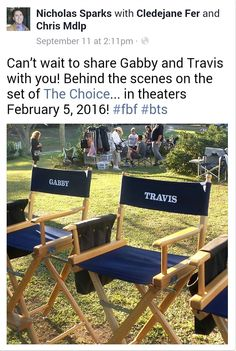 Can't wait to share Gabby and Travis with you! Behind the scenes on the set of in theaters February Movies Showing, Movies And Tv Shows, The Choice Movie, Nicholas Sparks Movies, Benjamin Walker, Tom Wilkinson, Teresa Palmer, Outdoor Furniture Sets, Outdoor Decor